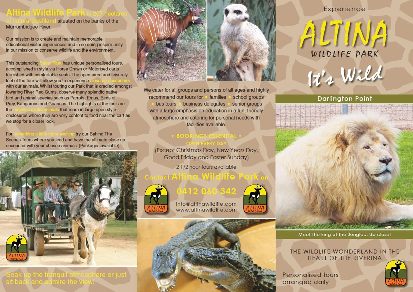 Experience Altina Wildlife Park Brochure Front